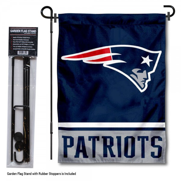 """New England Patriots Garden Flag and Stand kit includes our 13""""x18"""" garden banner which is made of 2 ply poly with liner and has screen printed licensed logos. Also, a 40""""x17"""" inch garden flag stand is included so your New England Patriots Garden Flag and Stand is ready to be displayed with no tools needed for setup. Fast Overnight Shipping is offered and the flag is Officially Licensed and Approved by the selected team."""