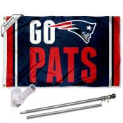 New England Patriots Go Pats Slogan Flag Pole and Bracket Kit