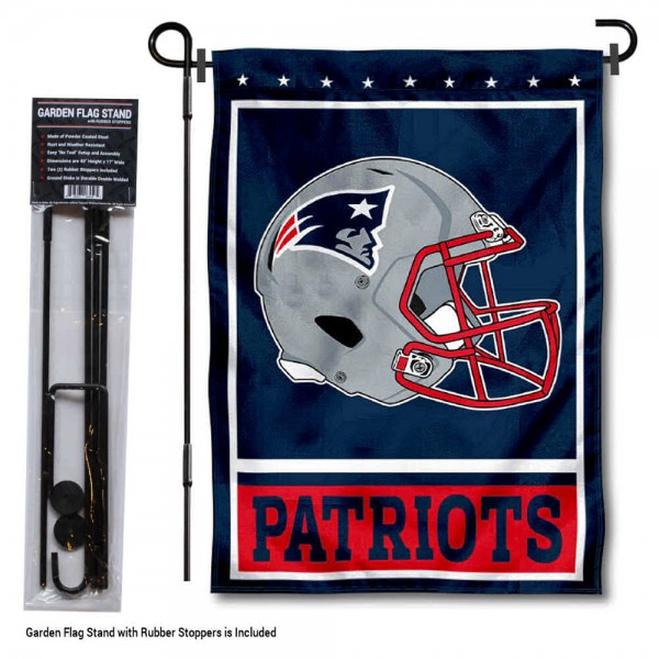 """New England Patriots Helmet Garden Banner and Flag Stand kit includes our 13""""x18"""" garden banner which is made of 2 ply poly with liner and has screen printed licensed logos. Also, a 40""""x17"""" inch garden flag stand is included so your New England Patriots Helmet Garden Banner and Flag Stand is ready to be displayed with no tools needed for setup. Fast Overnight Shipping is offered and the flag is Officially Licensed and Approved by the selected team."""