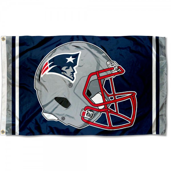 Our New England Patriots New Helmet Flag is two sided, made of poly, 3'x5', Overnight Shipping, has two metal grommets, indoor or outdoor, and four-stitched fly ends. These New England Patriots New Helmet Flags are Officially Approved by the New England Patriots.