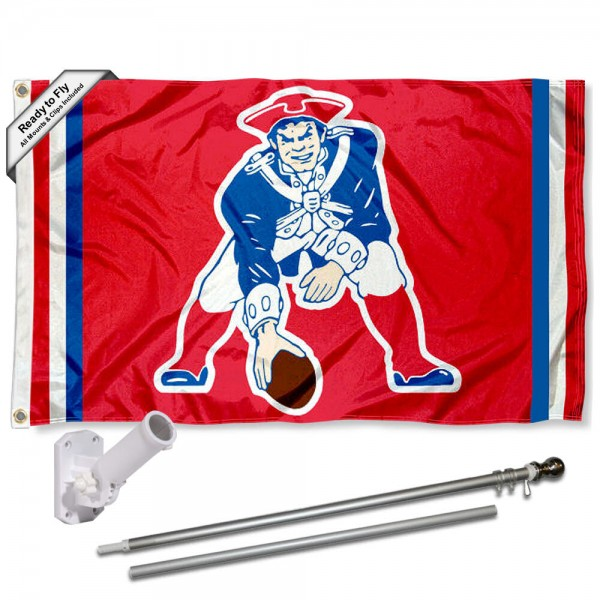 Our New England Patriots Pat Patriot Flag Pole and Bracket Kit includes the flag as shown and the recommended flagpole and flag bracket. The flag is made of polyester, has quad-stitched flyends, and the NFL Licensed team logos are double sided screen printed. The flagpole and bracket are made of rust proof aluminum and includes all hardware so this kit is ready to install and fly.
