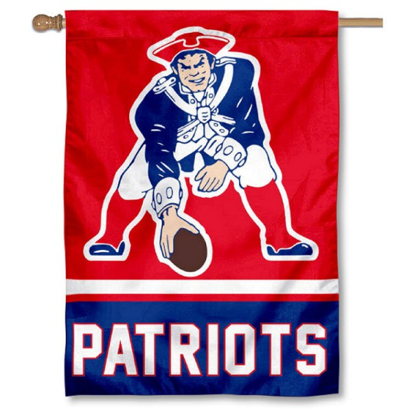 New England Patriots Pat Patriot Retro House Banner is screen printed with New England Patriots logos, is made of 2-ply 100% polyester, and is two sided and double sided. Our banners measure 28x40 inches and hang vertically with a top pole sleeve to insert your banner pole or flagpole.