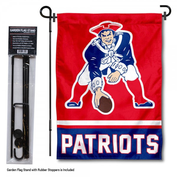 "New England Patriots Retro Logo Garden Flag and Stand kit includes our 13""x18"" garden banner which is made of 2 ply poly with liner and has screen printed licensed logos. Also, a 40""x17"" inch garden flag stand is included so your New England Patriots Retro Logo Garden Flag and Stand is ready to be displayed with no tools needed for setup. Fast Overnight Shipping is offered and the flag is Officially Licensed and Approved by the selected team."