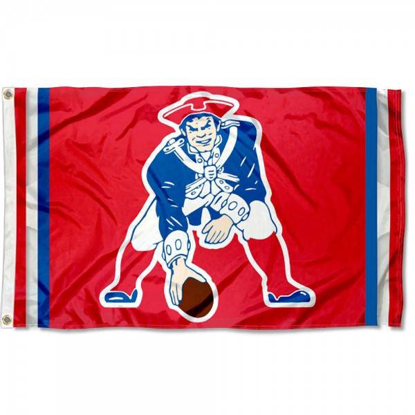 Our New England Patriots Throwback Flag is double sided, made of poly, 3'x5', has two grommets, and four-stitched fly ends. These New England Patriots Throwback Flags are Officially Licensed by the NFL.