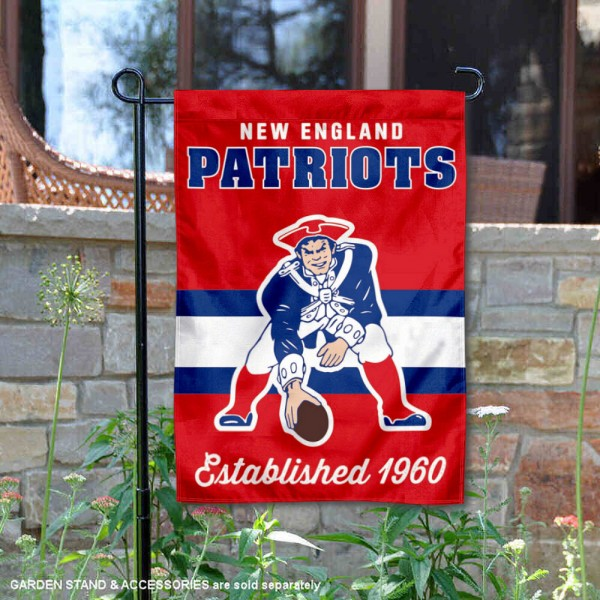 New England Patriots Throwback Logo Double Sided Garden Flag Flag is 12.5x18 inches in size, is made of 2-ply polyester, and has two sided screen printed logos and lettering. Available with Express Next Day Ship, our New England Patriots Throwback Logo Double Sided Garden Flag Flag is NFL Officially Licensed and is double sided.