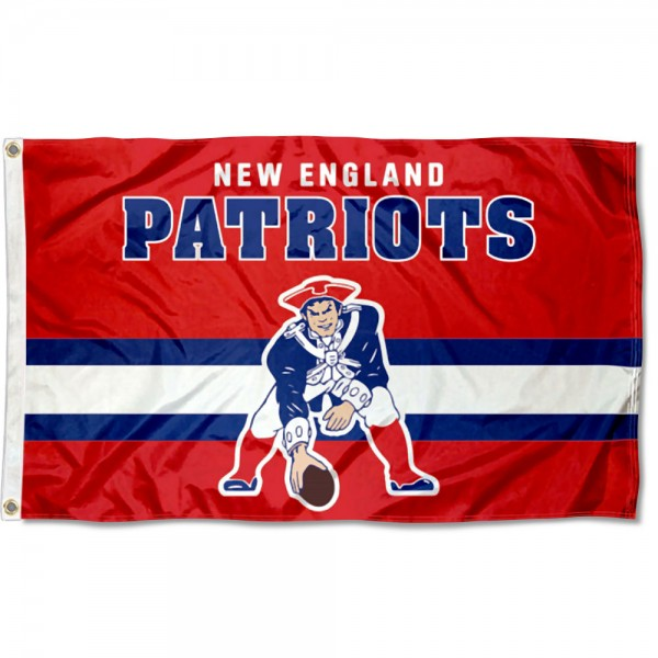Our New England Patriots Throwback Retro Vintage Logo Flag is double sided, made of poly, 3'x5', has two metal grommets, indoor or outdoor, and four-stitched fly ends. These New England Patriots Throwback Retro Vintage Logo Flags are Officially Approved by the New England Patriots.
