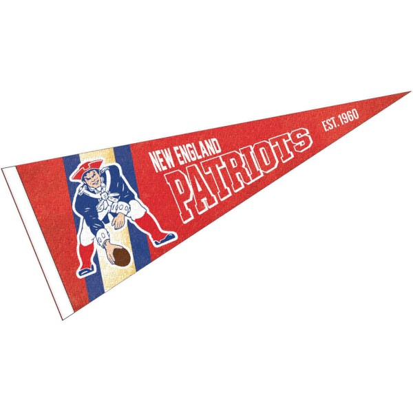 This New England Patriots Throwback Vintage Retro Pennant is 12x30 inches, is made of premium felt blends, has a pennant stick sleeve, and the team logos are single sided screen printed. Our New England Patriots Throwback Vintage Retro Pennant is NFL Officially Licensed.