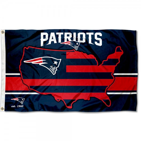 Our New England Patriots USA Country Flag is double sided, made of poly, 3'x5', has two metal grommets, indoor or outdoor, and four-stitched fly ends. These New England Patriots USA Country Flags are Officially Approved by the New England Patriots.