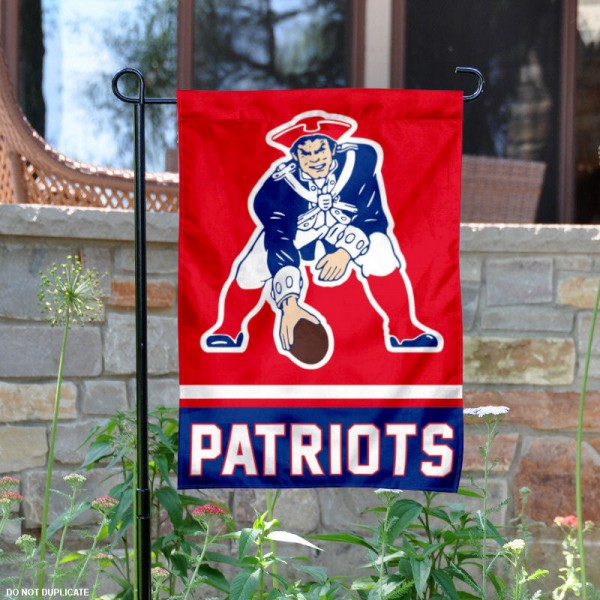 New England Patriots Vintage Garden Flag is 12.5x18 inches in size, is made of 2-ply polyester, and has two sided screen printed logos and lettering. Available with Express Next Day Ship, our New England Patriots Vintage Garden Flag is NFL Officially Licensed and is double sided.