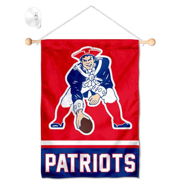 """New England Patriots Vintage Window and Wall Banner kit includes our 12.5""""x18"""" garden banner which is made of 2 ply poly with liner and has screen printed licensed logos. Also, a 17"""" wide banner pole with suction cup is included so your New England Patriots Vintage Window and Wall Banner is ready to be displayed with no tools needed for setup. Fast Overnight Shipping is offered and the flag is Officially Licensed and Approved by the selected team."""