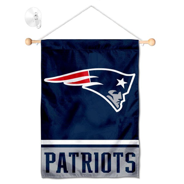 """New England Patriots Window and Wall Banner kit includes our 12.5""""x18"""" garden banner which is made of 2 ply poly with liner and has screen printed licensed logos. Also, a 17"""" wide banner pole with suction cup is included so your New England Patriots Window and Wall Banner is ready to be displayed with no tools needed for setup. Fast Overnight Shipping is offered and the flag is Officially Licensed and Approved by the selected team."""
