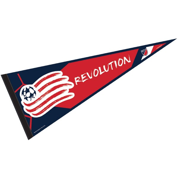 New England Revolution Pennant is our Full Size MLS soccer team pennant which measures 12x30 inches, is made of felt, and is single sided screen printed. Our New England Revolution Pennant is perfect for showing your MLS team allegiance in any room of the house and is MLS licensed.