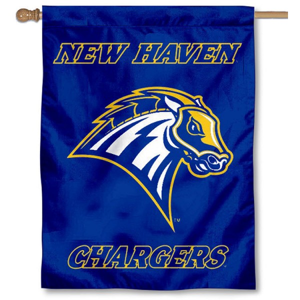 New Haven Chargers Banner Flag is a vertical house flag which measures 30x40 inches, is made of 2 ply 100% polyester, offers screen printed NCAA team insignias, and has a top pole sleeve to hang vertically. Our New Haven Chargers Banner Flag is officially licensed by the selected university and the NCAA.