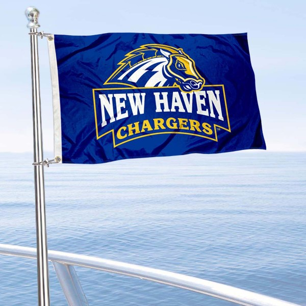 New Haven Chargers Boat and Mini Flag is 12x18 inches, polyester, offers quadruple stitched flyends for durability, has two metal grommets, and is double sided. Our mini flags for University of New Haven are licensed by the university and NCAA and can be used as a boat flag, motorcycle flag, golf cart flag, or ATV flag.