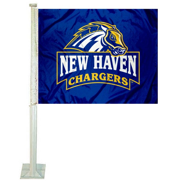 New Haven Chargers Logo Car Flag measures 12x15 inches, is constructed of sturdy 2 ply polyester, and has screen printed school logos which are readable and viewable correctly on both sides. New Haven Chargers Logo Car Flag is officially licensed by the NCAA and selected university.