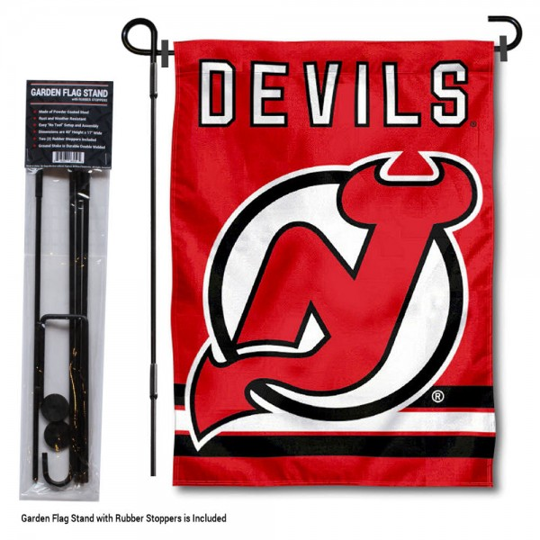 "New Jersey Devils Garden Flag and Flagpole Stand kit includes our 12.5""x18"" garden banner which is made of 2 ply poly with liner and has screen printed licensed logos. Also, a 40""x17"" inch garden flag stand is included so your New Jersey Devils Garden Flag and Flagpole Stand is ready to be displayed with no tools needed for setup. Fast Overnight Shipping is offered and the flag is Officially Licensed and Approved by the selected team."