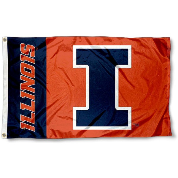 New Logo Flag for Fighting Illini measures 3'x5', is made of 100% poly, has quadruple stitched sewing, two metal grommets, and has double sided University of Illinois logos. Our New Logo Flag for Fighting Illini is officially licensed by the selected university and the NCAA