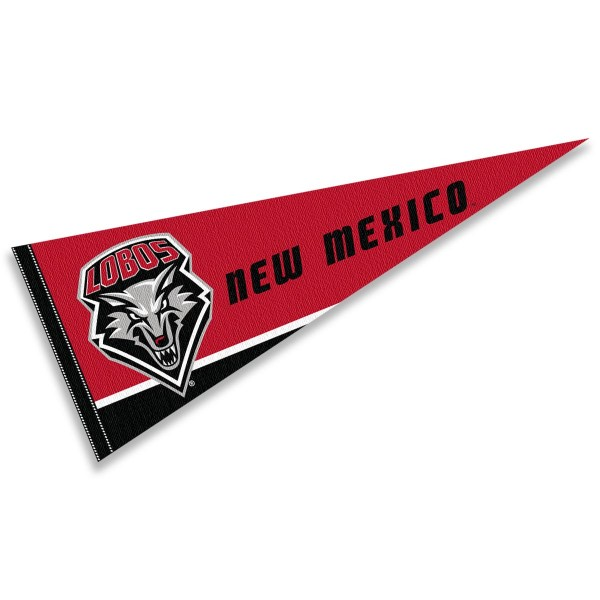 New Mexico Lobos Decorations consists of our full size pennant which measures 12x30 inches, is constructed of felt, is single sided imprinted, and offers a pennant sleeve for insertion of a pennant stick, if desired. This New Mexico Lobos Decorations is officially licensed by the selected university and the NCAA
