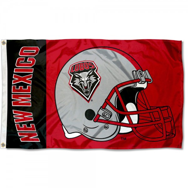 New Mexico Lobos Football Helmet Flag measures 3x5 feet, is made of 100% polyester, offers quadruple stitched flyends, has two metal grommets, and offers screen printed NCAA team logos and insignias. Our New Mexico Lobos Football Helmet Flag is officially licensed by the selected university and NCAA.
