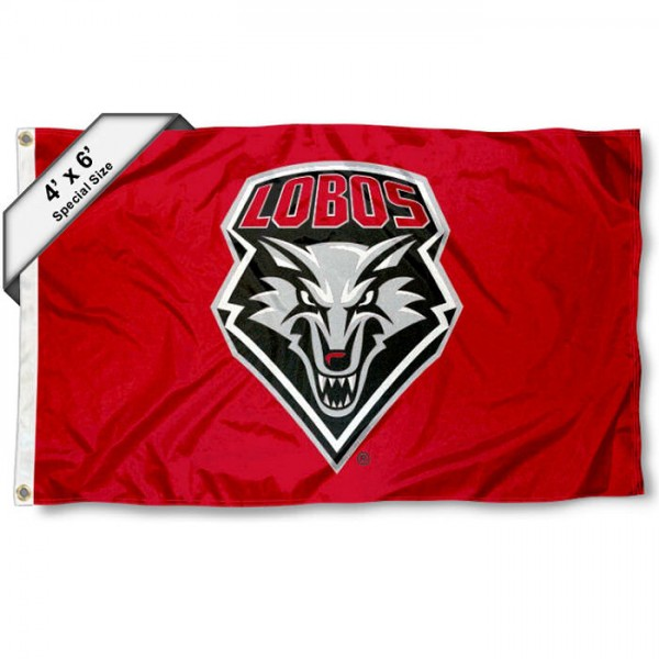 New Mexico Lobos Large 4x6 Flag measures 4x6 feet, is made thick woven polyester, has quadruple stitched flyends, two metal grommets, and offers screen printed NCAA New Mexico Lobos Large athletic logos and insignias. Our New Mexico Lobos Large 4x6 Flag is officially licensed by New Mexico Lobos and the NCAA.