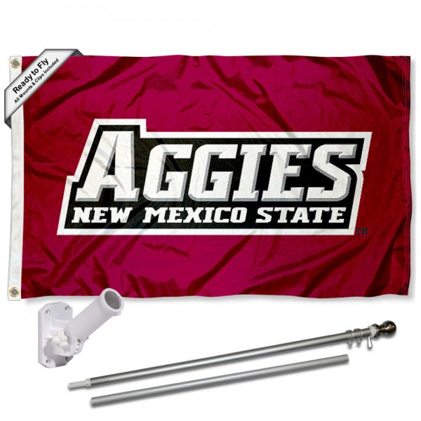 Our New Mexico State Aggies Flag Pole and Bracket Kit includes the flag as shown and the recommended flagpole and flag bracket. The flag is made of polyester, has quad-stitched flyends, and the NCAA Licensed team logos are double sided screen printed. The flagpole and bracket are made of rust proof aluminum and includes all hardware so this kit is ready to install and fly.