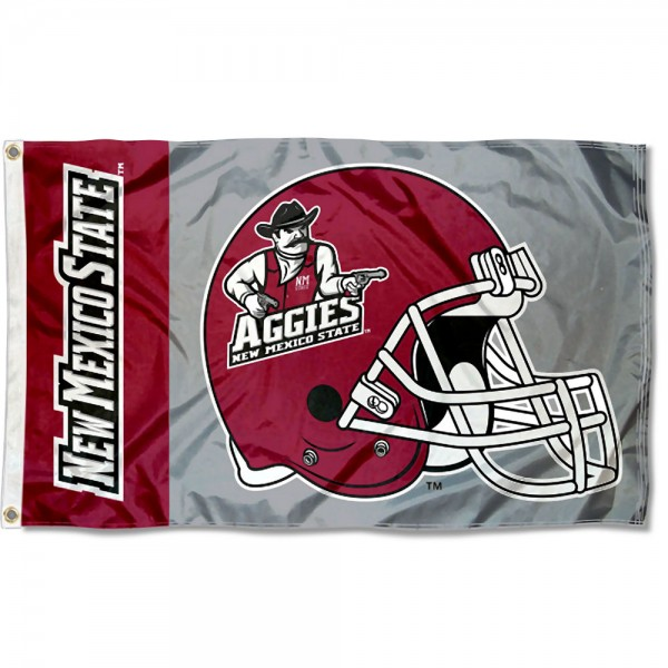 New Mexico State Aggies Football Helmet Flag measures 3x5 feet, is made of 100% polyester, offers quadruple stitched flyends, has two metal grommets, and offers screen printed NCAA team logos and insignias. Our New Mexico State Aggies Football Helmet Flag is officially licensed by the selected university and NCAA.
