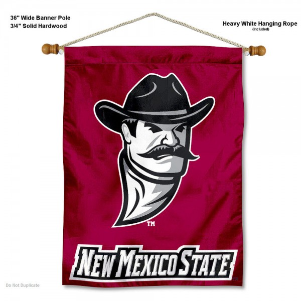 "New Mexico State Aggies Wall Banner is constructed of polyester material, measures a large 30""x40"", offers screen printed athletic logos, and includes a sturdy 3/4"" diameter and 36"" wide banner pole and hanging cord. Our New Mexico State Aggies Wall Banner is Officially Licensed by the selected college and NCAA."