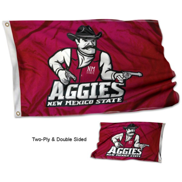New Mexico State University Flag measures 3'x5' in size, is made of 2 layer 100% polyester, has quadruple stitched fly ends for durability, and is viewable and readable correctly on both sides. Our New Mexico State University Flag is officially licensed by the university, school, and the NCAA