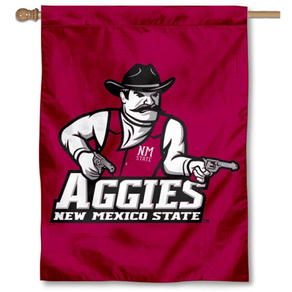 New Mexico State University House Flag is a vertical house flag which measures 30x40 inches, is made of 2 ply 100% polyester, offers dye sublimated NCAA team insignias, and has a top pole sleeve to hang vertically. Our New Mexico State University House Flag is officially licensed by the selected university and the NCAA