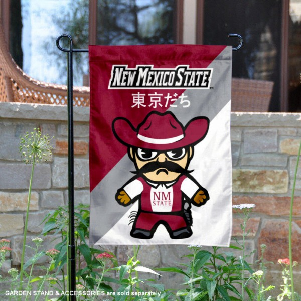 New Mexico State University Tokyodachi Mascot Yard Flag is 13x18 inches in size, is made of double layer polyester, screen printed university athletic logos and lettering, and is readable and viewable correctly on both sides. Available same day shipping, our New Mexico State University Tokyodachi Mascot Yard Flag is officially licensed and approved by the university and the NCAA.