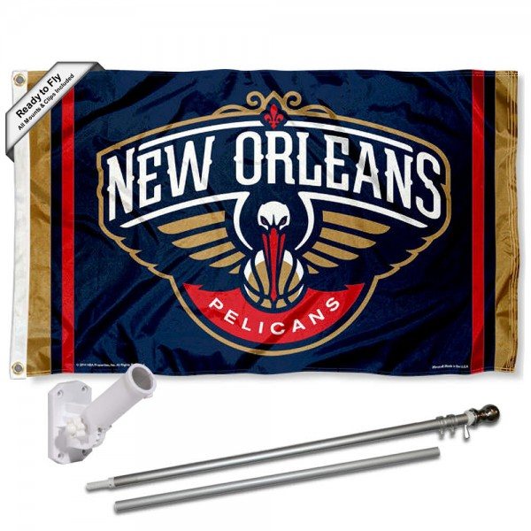 Our New Orleans Pelicans Flag Pole and Bracket Kit includes the flag as shown and the recommended flagpole and flag bracket. The flag is made of polyester, has quad-stitched flyends, and the NBA Licensed team logos are double sided screen printed. The flagpole and bracket are made of rust proof aluminum and includes all hardware so this kit is ready to install and fly.