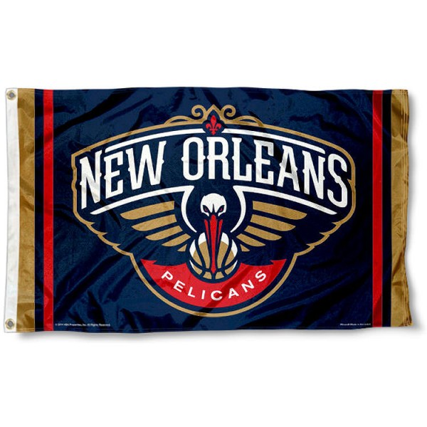 The New Orleans Pelicans Team Flag is four-stitched bordered, double sided, made of poly, 3'x5', and has two grommets. These New Orleans Pelicans Team Flags are NBA Genuine Merchandise.