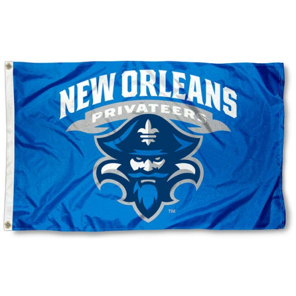 New Orleans Privateers Flag is made of 100% nylon, offers quad stitched flyends, measures 3x5 feet, has two metal grommets, and is viewable from both side with the opposite side being a reverse image. Our New Orleans Privateers Flag is officially licensed by the selected college and NCAA