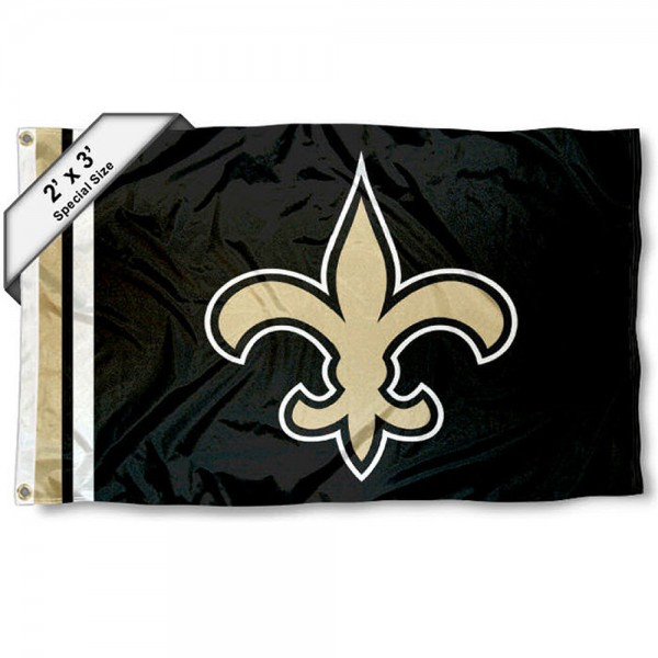 New Orleans Saints 2x3 Feet Flag measures 2'x3', is made polyester, has quadruple stitched flyends, two metal grommets, and offers screen printed NFL New Orleans Saints logos and insignias. Our New Orleans Saints 2x3 Foot Flag is NFL Officially Licensed and approved.