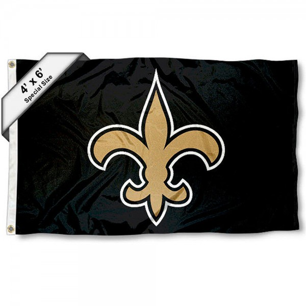 New Orleans Saints 4x6 Flag measures a large 4x6 feet, is made polyester, has quadruple stitched flyends, two metal grommets, and offers screen printed NFL New Orleans Saints logos and insignias. Our New Orleans Saints 4x6 Foot Flag is NFL Officially Licensed and New Orleans Saints approved.