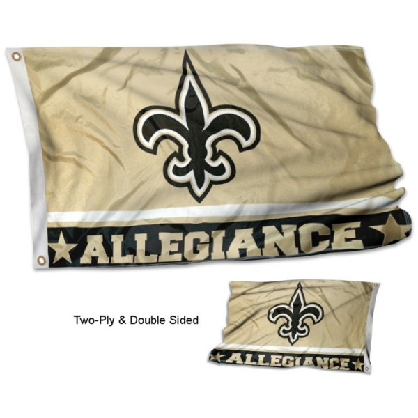 New Orleans Saints Allegiance Flag measures 3'x5', is made of 2-ply double sided polyester with liner, has quadruple stitched sewing, two metal grommets, and has two sided team logos. Our New Orleans Saints Allegiance Flag is officially licensed by the selected team and the NFL and is available with overnight express shipping.