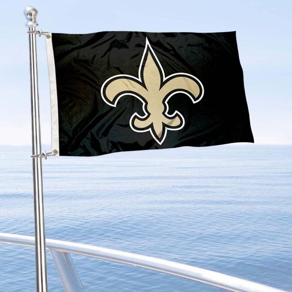 "Our New Orleans Saints Boat and Nautical Flag is 12""x18"", made of three-ply poly, has a solid header with two metal grommets, and is double sided. This Boat and Nautical Flag for New Orleans Saints is Officially Licensed by the NFL and can also be used as a motorcycle flag, boat flag, golf cart flag, or recreational flag."