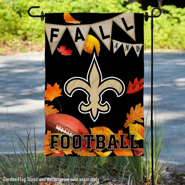 New Orleans Saints Fall Football Leaves Decorative Double Sided Garden Flag is 12.5x18 inches in size, is made of 2-ply polyester, and has two sided screen printed logos and lettering. Available with Express Next Day Ship, our New Orleans Saints Fall Football Leaves Decorative Double Sided Garden Flag is NFL Officially Licensed and is double sided.