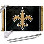 New Orleans Saints Flag Pole and Bracket Kit