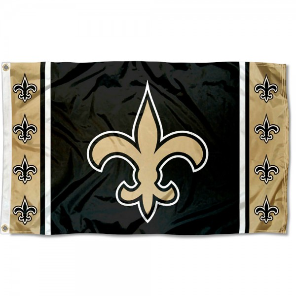 Our New Orleans Saints Fleur Flag is double sided, made of poly, 3'x5', has two metal grommets, indoor or outdoor, and four-stitched fly ends. These New Orleans Saints Fleur Flags are Officially Approved by the New Orleans Saints.
