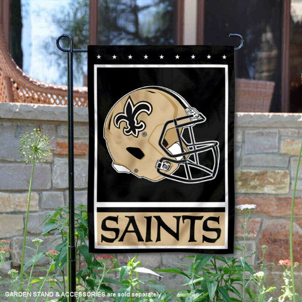 New Orleans Saints Football Garden Banner Flag is 12.5x18 inches in size, is made of 2-ply polyester, and has two sided screen printed logos and lettering. Available with Express Next Day Ship, our New Orleans Saints Football Garden Banner Flag is NFL Officially Licensed and is double sided.