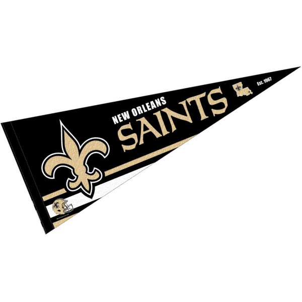 This New Orleans Saints Full Size Pennant is 12x30 inches, is made of premium felt blends, has a pennant stick sleeve, and the team logos are single sided screen printed. Our New Orleans Saints Full Size Pennant is NFL Officially Licensed.