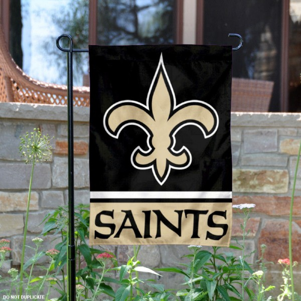 New Orleans Saints Garden Flag is 12.5x18 inches in size, is made of 2-ply polyester, and has two sided screen printed logos and lettering. Available with Express Next Day Ship, our New Orleans Saints Garden Flag is NFL Officially Licensed and is double sided.
