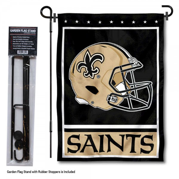 "New Orleans Saints Helmet Garden Banner and Flag Stand kit includes our 13""x18"" garden banner which is made of 2 ply poly with liner and has screen printed licensed logos. Also, a 40""x17"" inch garden flag stand is included so your New Orleans Saints Helmet Garden Banner and Flag Stand is ready to be displayed with no tools needed for setup. Fast Overnight Shipping is offered and the flag is Officially Licensed and Approved by the selected team."