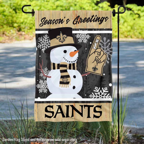 New Orleans Saints Holiday Winter Snow Double Sided Garden Flag is 12.5x18 inches in size, is made of 2-ply polyester, and has two sided screen printed logos and lettering. Available with Express Next Day Ship, our New Orleans Saints Holiday Winter Snow Double Sided Garden Flag is NFL Officially Licensed and is double sided.
