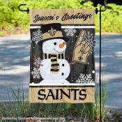 New Orleans Saints Holiday Winter Snow Double Sided Garden Flag