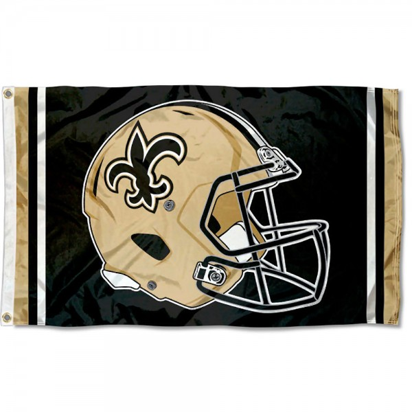 Our New Orleans Saints New Helmet Flag is two sided, made of poly, 3'x5', Overnight Shipping, has two metal grommets, indoor or outdoor, and four-stitched fly ends. These New Orleans Saints New Helmet Flags are Officially Approved by the New Orleans Saints.