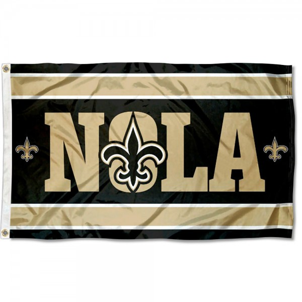 Our New Orleans Saints NOLA Flag is double sided, made of poly, 3'x5', has two metal grommets, indoor or outdoor, and four-stitched fly ends. These New Orleans Saints NOLA Flags are Officially Approved by the New Orleans Saints.