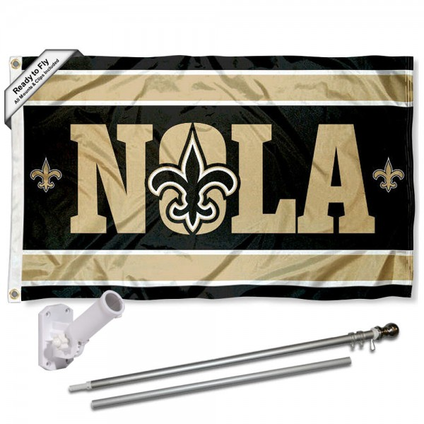 Our New Orleans Saints NOLA Slogan Flag Pole and Bracket Kit includes the flag as shown and the recommended flagpole and flag bracket. The flag is made of polyester, has quad-stitched flyends, and the NFL Licensed team logos are double sided screen printed. The flagpole and bracket are made of rust proof aluminum and includes all hardware so this kit is ready to install and fly.