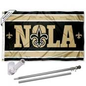 New Orleans Saints NOLA Slogan Flag Pole and Bracket Kit